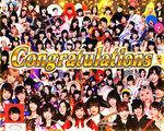 パチスロ AKB48 エンジェル V成立時の画面 100人集合